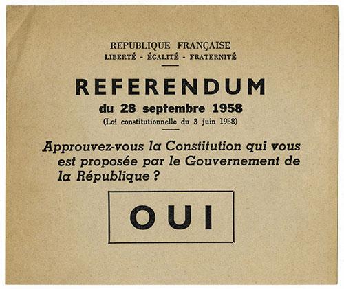 Bulletin du Referendum de 1958