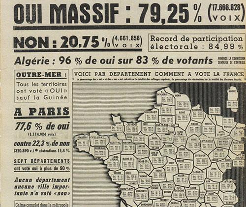 Une de France Soir sur le Referendum de la Ve Republique